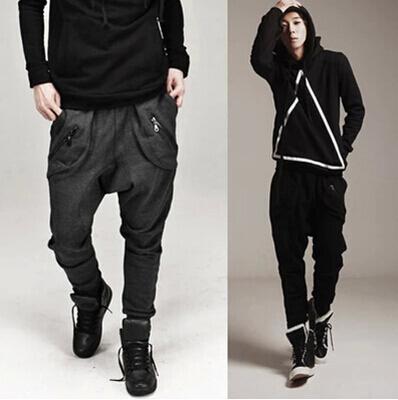 Wholesale-2015 neue Haremshosen Männer Hip Hop Jogger Pants Low Drop Crotch Jogginghose Baggy Trousers Herren Jogger