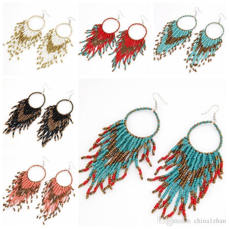 Vintage Bohemian Turquoise Boucles d/'oreilles ethniques Bijoux Tassel