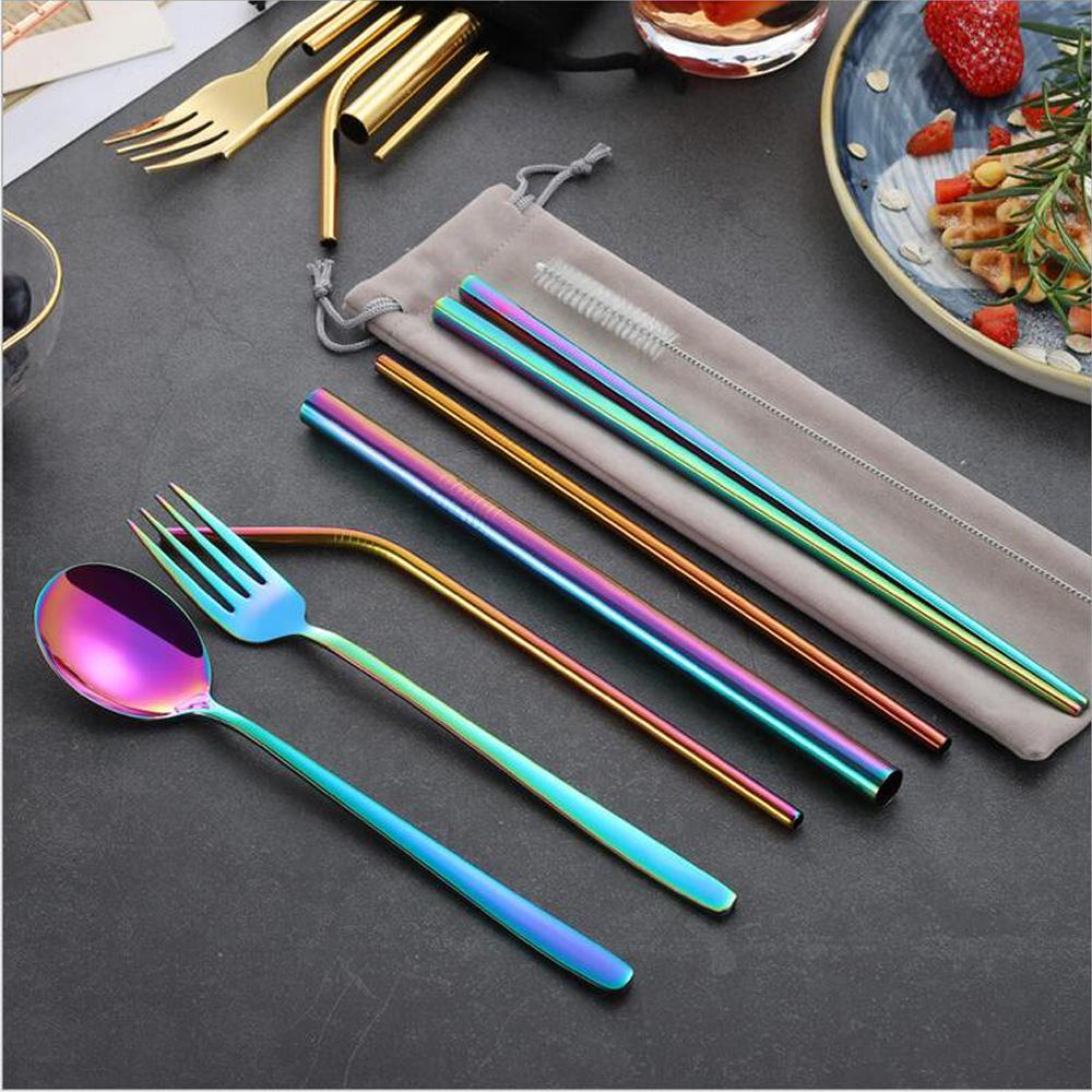 Colorful 304 Stainless Steel cutlery Straw Spoon Fork Chopsticks Cleaning Brush With Pounch Eco-Friendly Portable Outdoor Tableware Set
