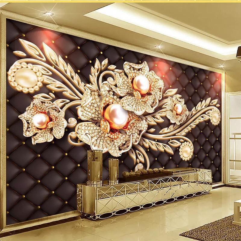 8d TV Hintergrund Wandtapete Blumen Malerei 3D Wanddekoration Wohnzimmer golden Film- und Fernsehwandtapete 5d bedeckt
