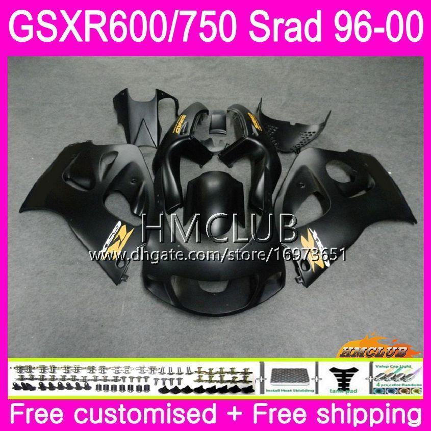 Body For SUZUKI SRAD GSXR 750 600 1996 1997 1998 1999 2000 Kit 1HM.8 flat black GSX-R750 GSXR-600 GSXR750 GSXR600 96 97 98 99 00 Fairing