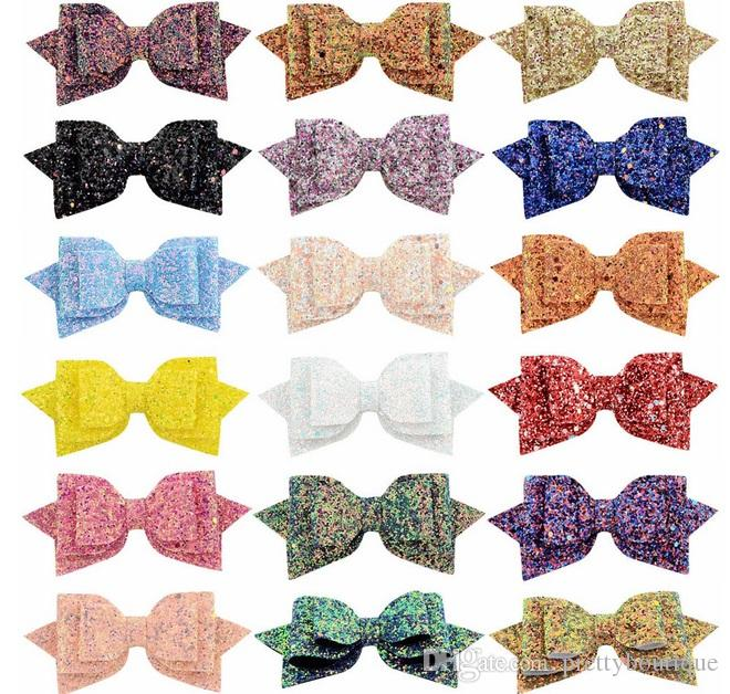 5 Inch Baby Girl Christmas fashion Hair clip Sequins Bow Barrettes For Kids Girl Princess Bowknot hairpins Shinny Accessories 881