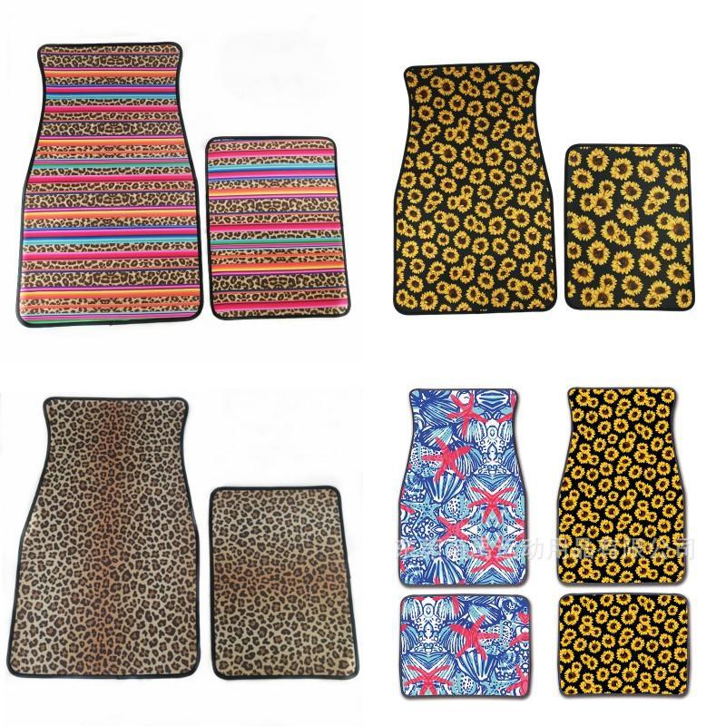 Tapis de sol universels de voiture léopard Foot Foot Carpets 2pcs par costume anti glissant multi couleurs 31dy F1
