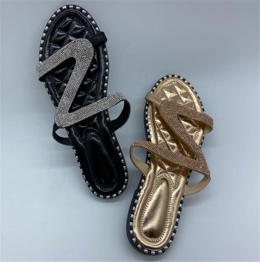 Kadınlar Sandalet Ayakkabı Casual Dışında Terlik Stick Rhinestone Düz Toka terlik 3colors PH-CFY20050914