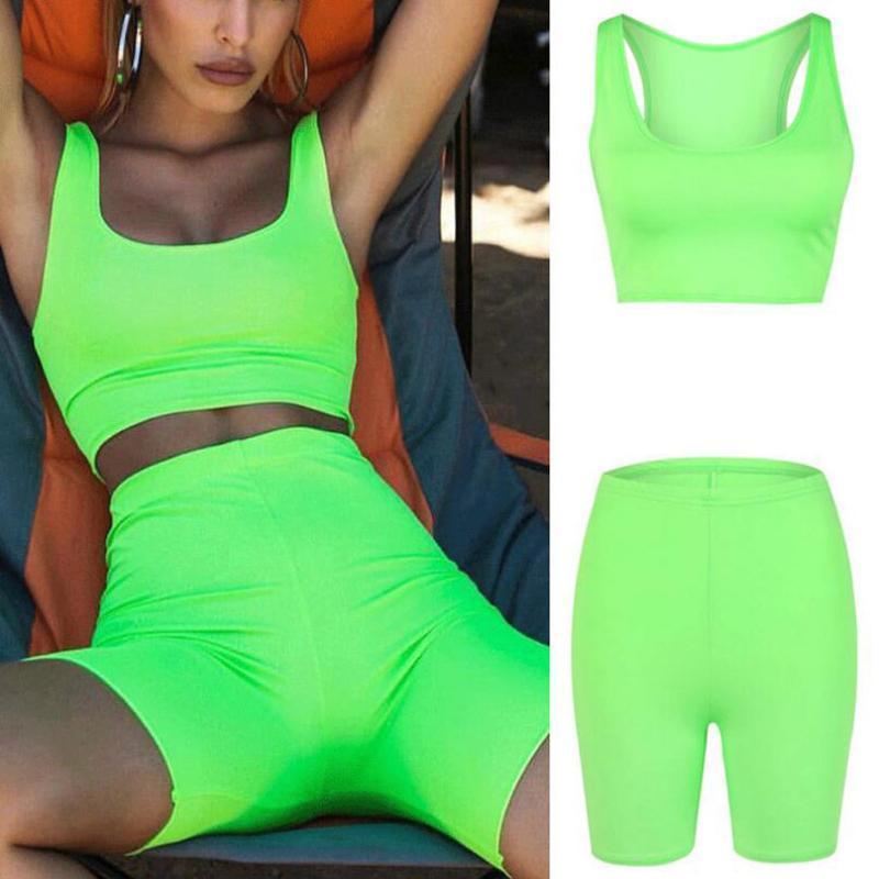 2pcs Mulheres Yoga Set Sportswear Mulheres mangas Cortar Tops Vest Tanque Shorts Verde Fluorescente Bodycon Verão Set Sportswear 5,7