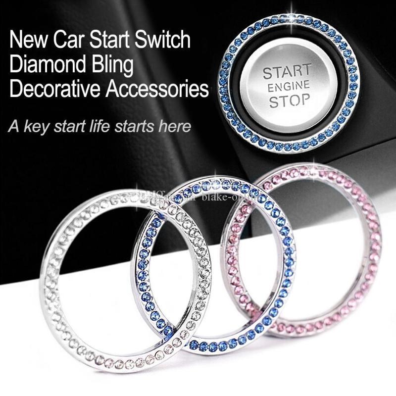 Voiture décor intérieure cristal strass voitures bling anneau emblème autocollant autocollant auto accessoires de démarrage moteur bouton bouton bouton boutons de diamant cercle