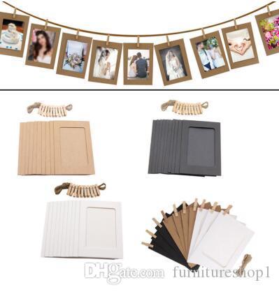 Photo Frame Para 10pcs parede da festa de formatura Decor retrato de madeira Photo Frame Clipe Imagem Papel de casamento Titular Photo Booth Props