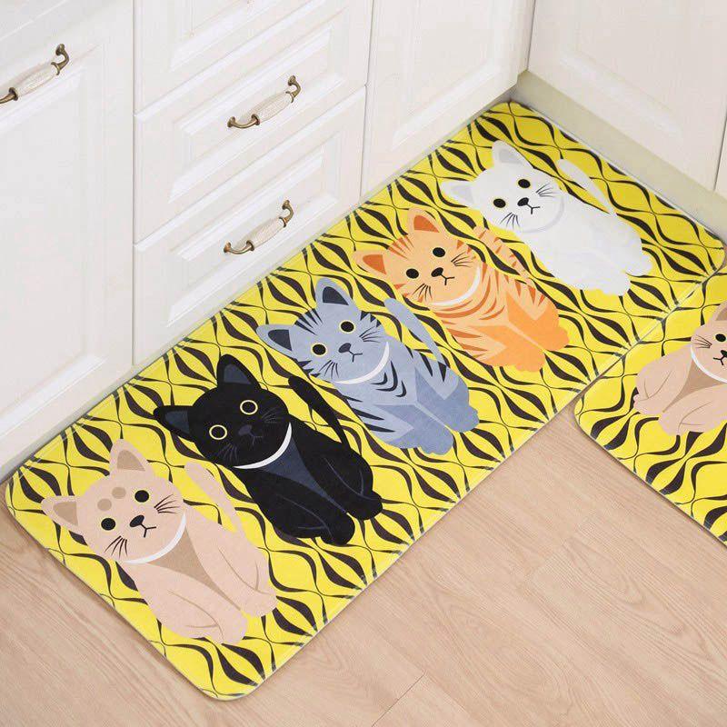 Mutfak Alan Halı Kedi Baskılı Paspas Halılar Karikatür Kawaii Kilim Ev Dekorasyonu Paspaslar Koridor Halı Banyo Kaymaz Mat Welcome