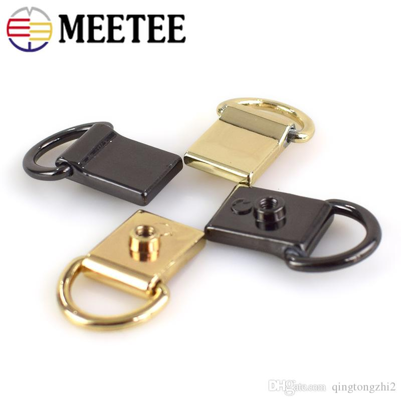 Meetee Bag Decoration Metal Buckles DIY Handmade Side Hanging D Ring Hooks with Screw Connector Hardware Accessories BF214
