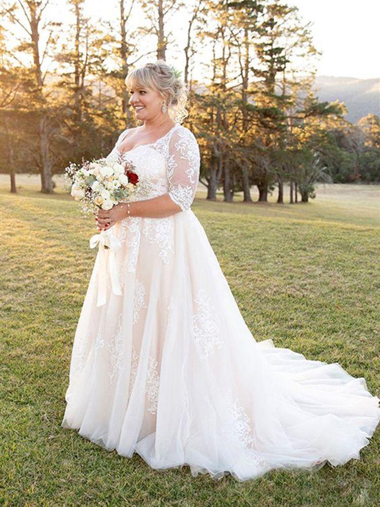 Brautkleider Halbarm Appliqued Spitze-Tulle eine Linie Bohemian Boho Brautkleider Garten-Land-Hochzeit Customized