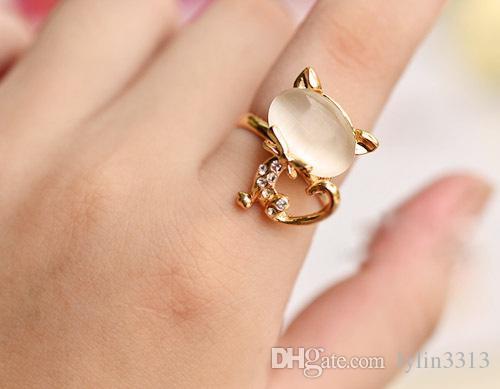 2015 joyería de moda lindo anillo de gato de diamantes de imitación azul anillos de aleación ajustables Corea p. Bague Enamel Animal