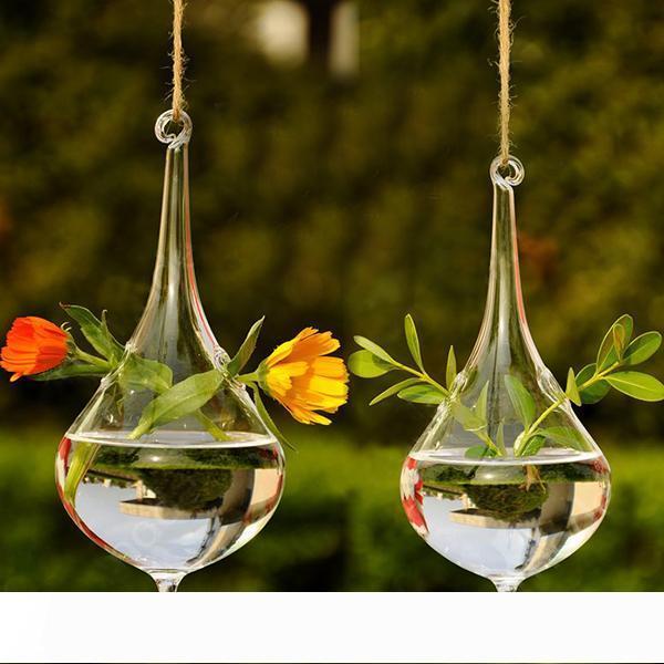 맑은 물 드롭 유리 매달려 화병 병 테라리움 수경 식물 꽃 DIY 표 웨딩 정원 장식