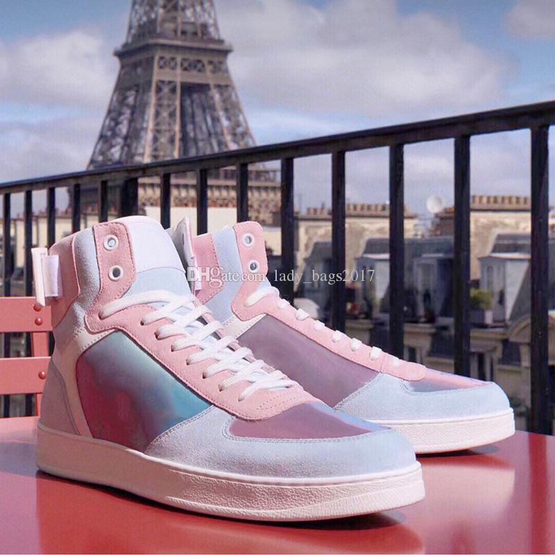 الأزياء 5D إبهار الليزر قوس قزح أحذية ملونة صنادل جلدية حقيقية الدانتيل متابعة قصو البصر جوكر الرجال النساء عشاق أحذية