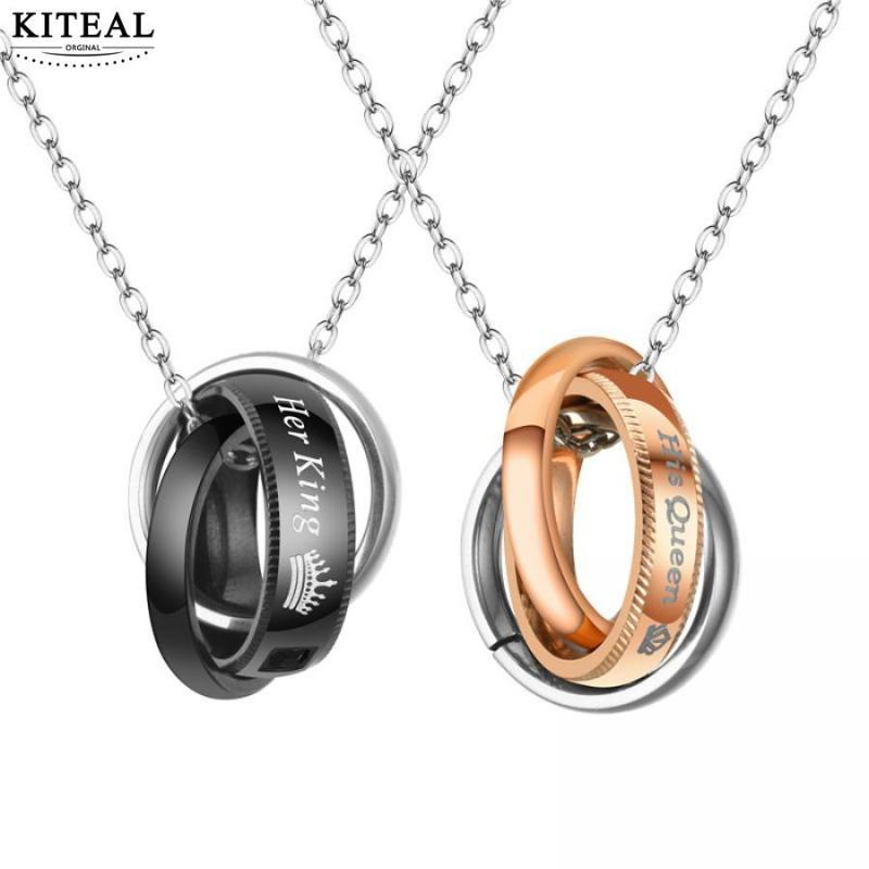 Kiteal Her king His queen Couple circle pendant Stainless Steel Crytal Crown Charm necklace pendant For Women Men Drop Shipping
