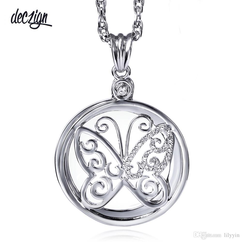 Deczign Cute butterfly Crystal Magnifying glass Pendant Long Sweater chain Necklaces 2X Magnifier necklace P-0034