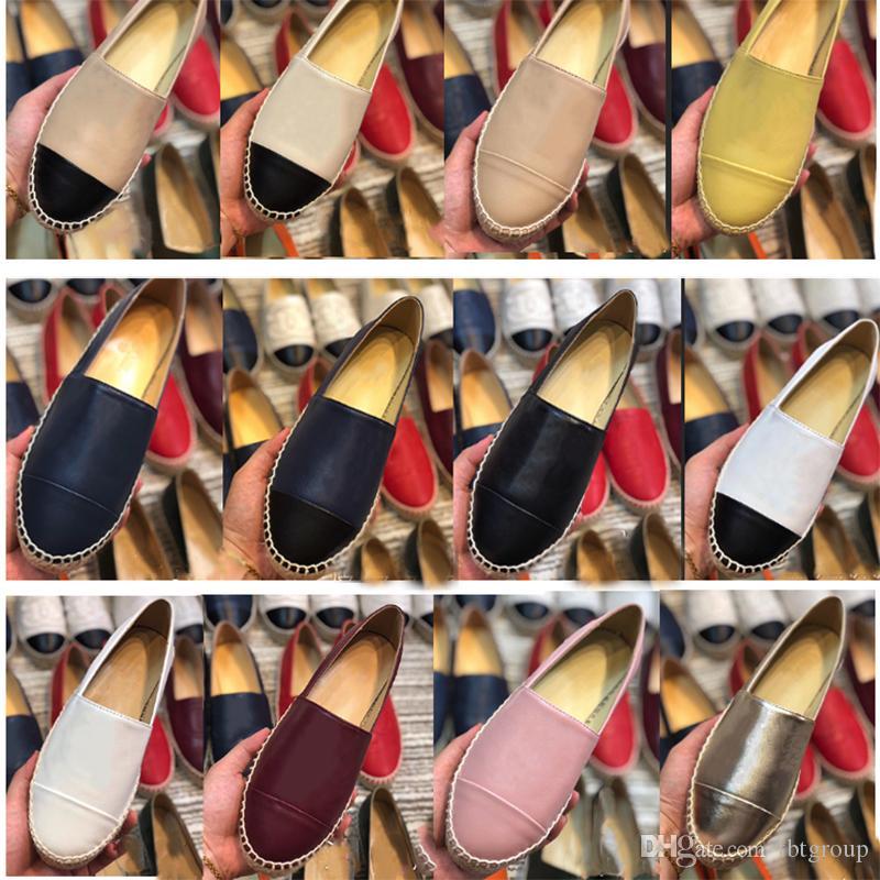 2020 New couro Alpercatas sapatas de lona sapatos clássico Loafers real Lambskin Verão formadores Loafers Alpercatas Tamanho 35-42 com caixa