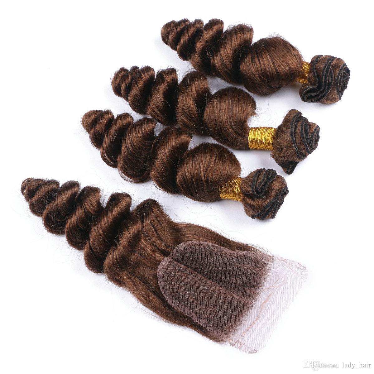 # 4 Mittlere braune reine peruanische Menschenhaar-Einschlagfäden mit Schließung 4Pcs Los Schokoladenbrauner vorderer Spitze-Schließung 4x4 mit loser Welle 3Bundles