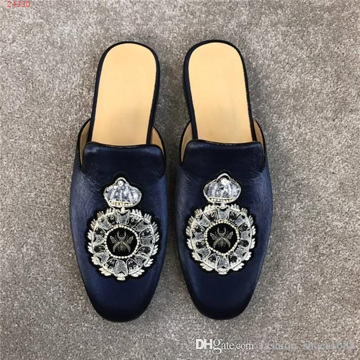 Siyah Ile Nakış ile Mens Deri Katır Kadife Terlik, Klasik Flats Erkekler Soyunma Ayakkabı Tasarımcısı Slip-on ile Kutu Boyutu 38-44