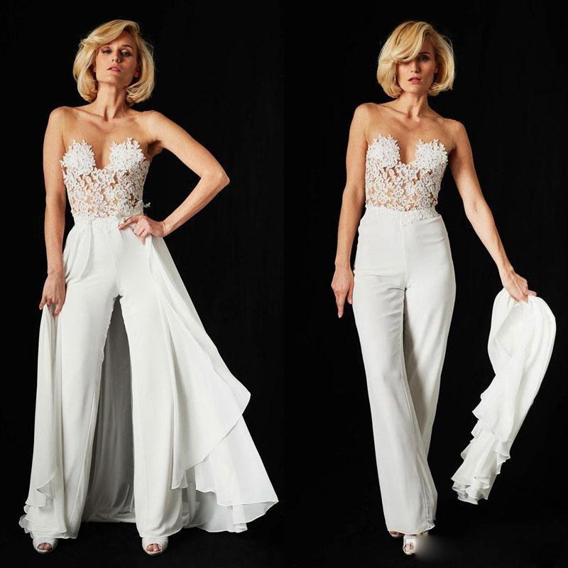 Fashion Jumpsuits Prom Dresses Sexy V Neck Lace Appliques Evening Gowns Detachable Train vestidos de fiesta Satin Formal Party Dress