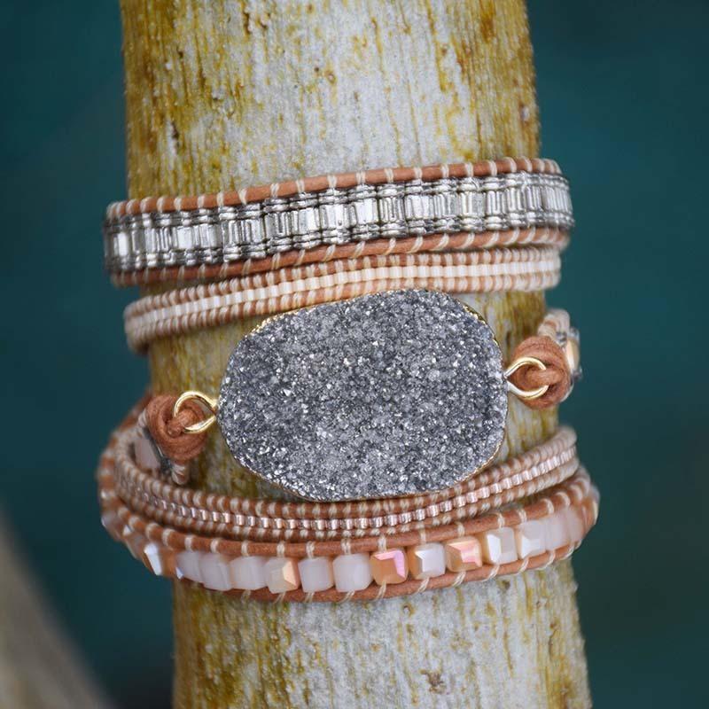Big Gris naturel Druzy Pierre Bracelet Vintage gainé de cuir Boho Miyuki Rocailles Wraps Dropship
