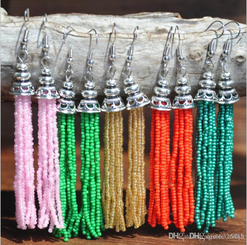 Boximi europäisch-amerikanische retro nationalen Stil lange Quaste Ohrringe Farbe Reis-Perlen-Ohrringe reine Hand wulstige jewelryChina Großhandel freie d