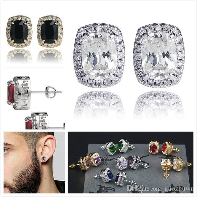 personalized 18K Gold Blingbling Colorful Diamond Stud Earrings Big Square Cubic Zirconia Earring Studs Hip Hop Jewelry For Men and Women