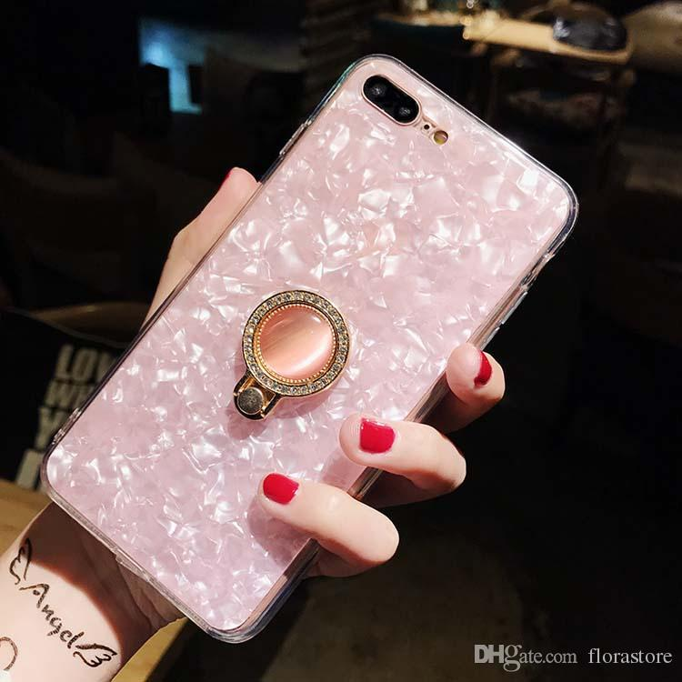 반짝이는 부드러운 TPU 휴대 전화 케이스 반짝이 진주 블링 링 홀더 커버 쉘 패턴 케이스 아이폰 7 8 11 Pro Max 12