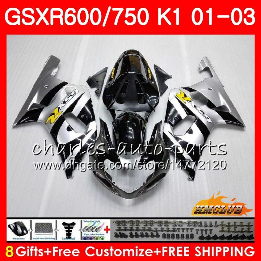 8Gifts para o corpo SUZUKI GSXR 600 750 GSXR600 2001 2002 2003 prata preto quente 4HC.2 GSX R750 GSXR600 GSXR750 K1 GSXR750 01 02 03 Fairing kit