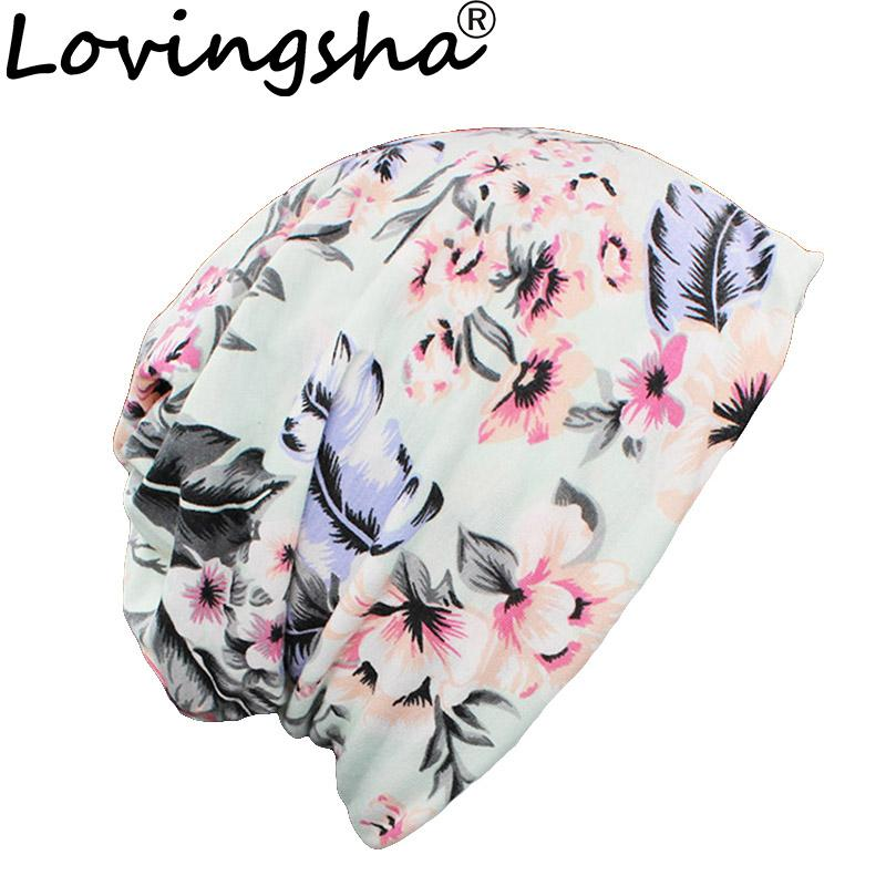 Women Skullies and Beanies Autumn and Winter Dual-Use Hats for Ladies Thin Leaf Design Girl Scarf