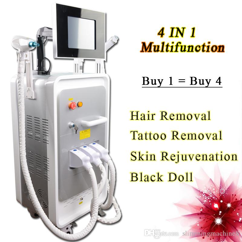 4 IN 1 opt shr hair removal treatment ipl machine acne removal nd yag laser tattoo Mole Spots Removal machine for home