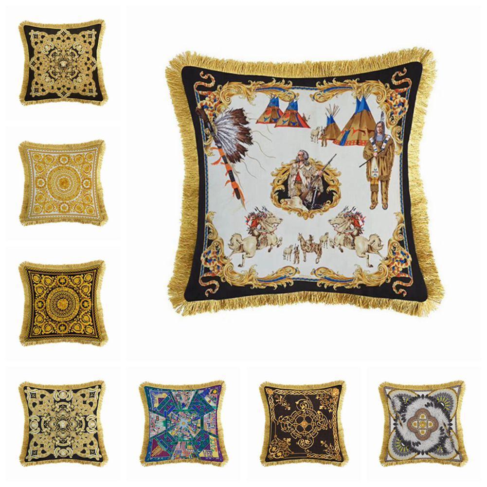 Avrupa Lüks Yastık 8 Stiller Mevcut Katı çuval bezi Yastık Kılıfı Klasik Keten Kare Yastık Kapak Kanepe Dekoratif Yastıklar Kılıfları