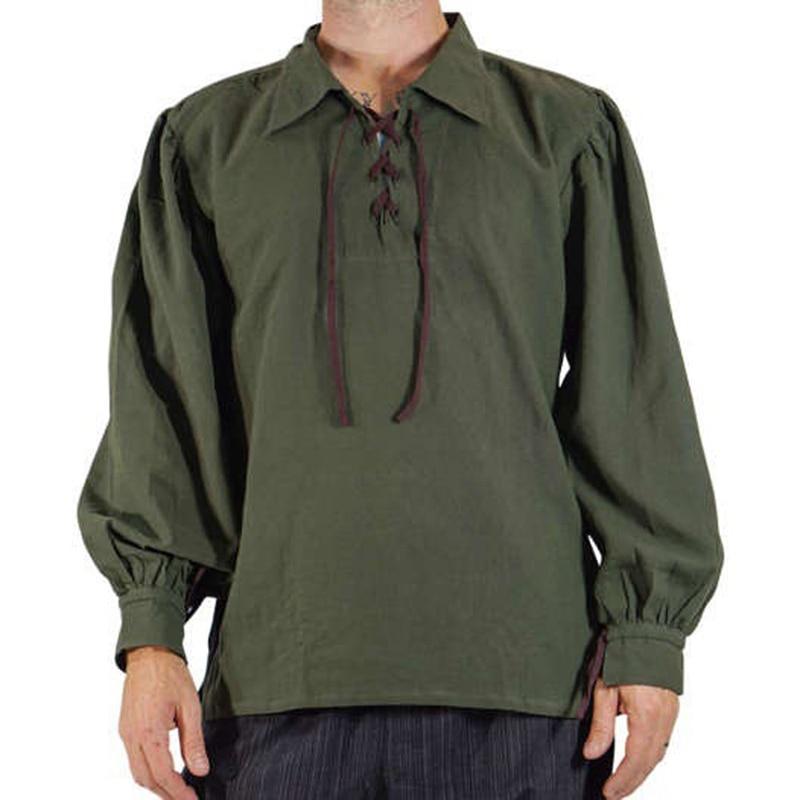 La moda masculina medieval del renacimiento de los novios pirata tapa de la túnica Larp traje del cordón encima de la camisa de la Edad Media de Viking Cosplay Top