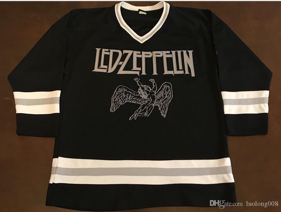 Rare Vintage Jersey Bravado Led Zeppelin Hockey Broderie Cousue Personnalisez n'importe quel numéro et nom Jerseys