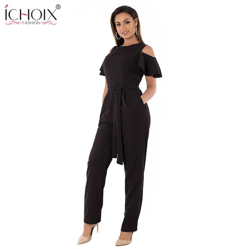 5xl 6xl Summer Plus Size Jumpsuit Women 2019 Sexy Off Shoulder Big Size Romper Overall Large Size Casual Female Elegant Jumpsuit Y19071701