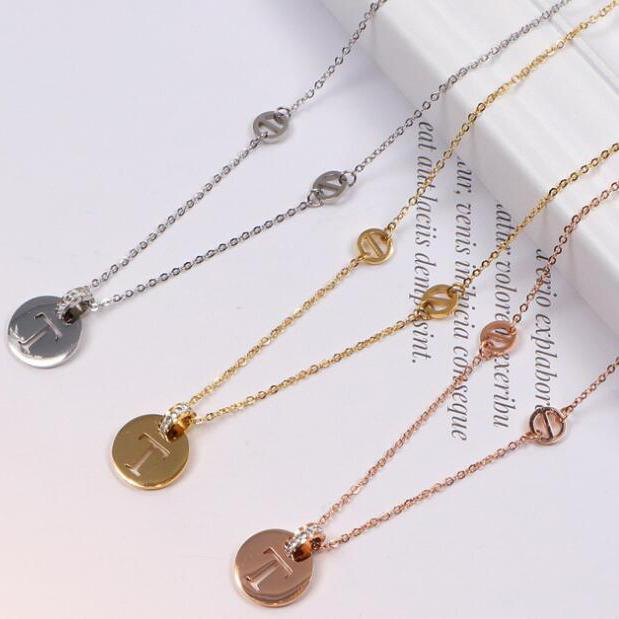 Brand New 18k Gold Silver Rose Gold Titanium Steel T Letter Pendant Necklaces Jewelry Fashion Necklace Christmas Gift