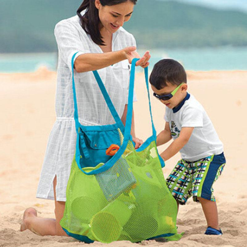 Large Size Portable Kids Baby Mesh Beach Storage Bags Sand Away Carry Balls Clothes Towel Bag Toy Collection Bag