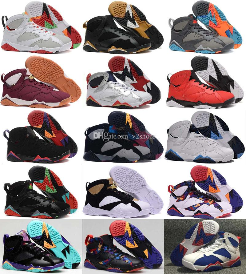 Schuhe Basketball 7 7s VII Männer Silber Retro Bordeaux Olympic Panton reine Geld Nichts Raptor Homme Trainer-Sport-Schuh-Turnschuh Günstige