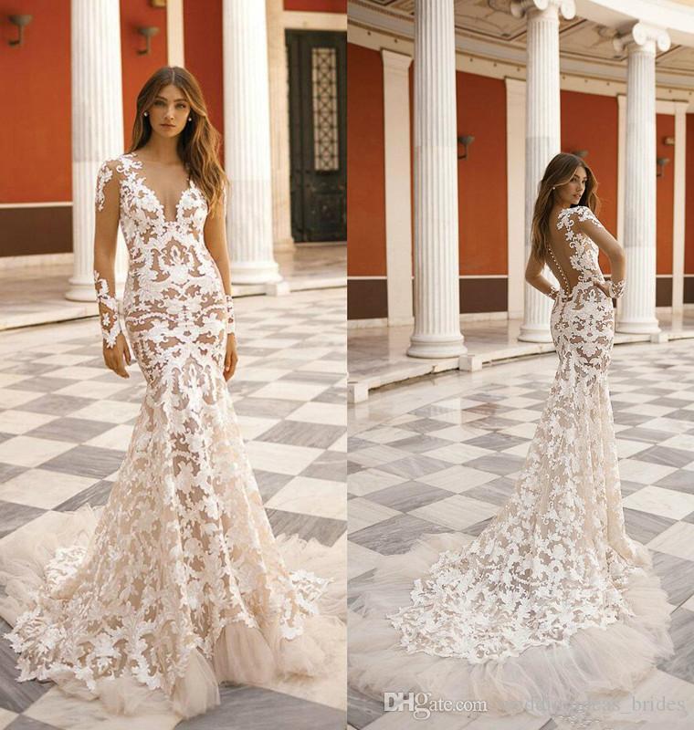 2019 berta sereia vestidos de casamento lace applique pura jóia decote praia vestidos nupciais botão coberto quadra trem vestido de noiva barato