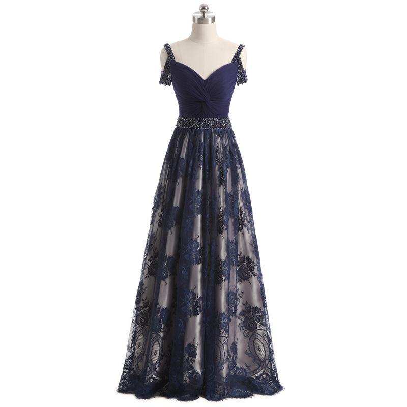 Perfect Summer Beading Aline Sleeveless Evening Dresses Dark Navy Prom Party Gowns Plus Size Celebrity Dresses Abendkleider