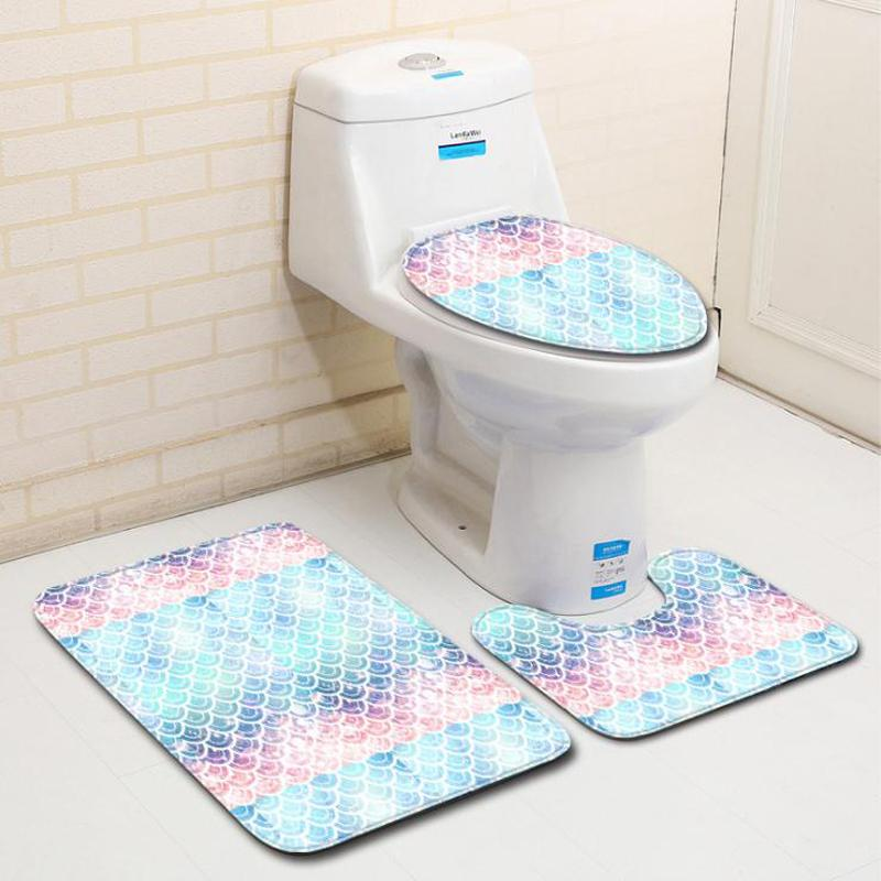 3 PIECE BATHROOM CONTOUR RUG AND TOILET LID COVER MAT SET
