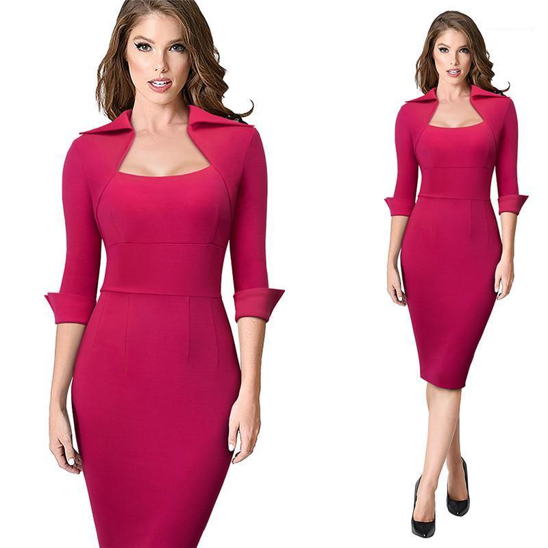 Kleid Fashion Solid Color elegante Arbeit Business Büro Weibliche Kleidung Damen Designer Bodycon Drersses Luxus Frühling, Sommer,