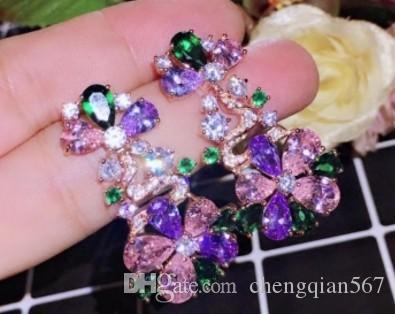 Pendientes de señora de cristal de diamante de alta calidad y preciosas flores de colores 188 (3.8 * 2.3 cm)