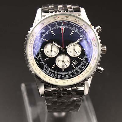 ر الرجال ساعات الكوارتز جهاز توقيت مونبريان 46MM الاتصال الهاتفي السوداء 316L حزام الفضة الفولاذ المقاوم للالياقوت الصلبة حزام رجل رياضة ساعة