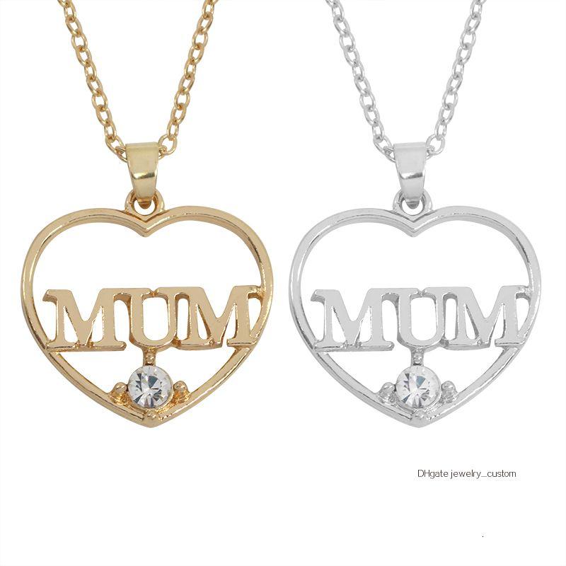 Mode Herz-Höhle-Mamma-Kristall Anhänger Halskette Frauen Everlasting Love Mutter Mom Gold Silber Schmuck Für Mother'day Geschenke