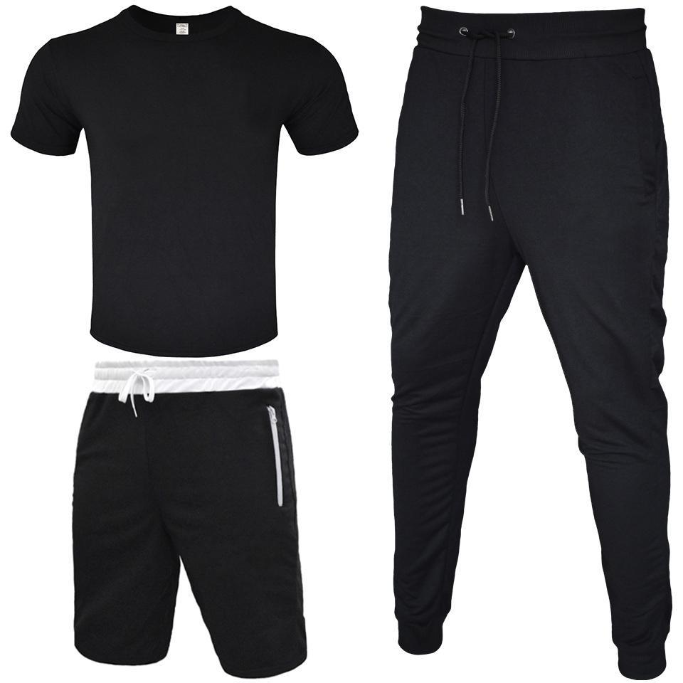 Track Suit Men T-shirt+Short Pant+Long Pant 3 Piece Sets Outfit Street Wind Leggings Sports Casual Cotton T-shirt Zipper