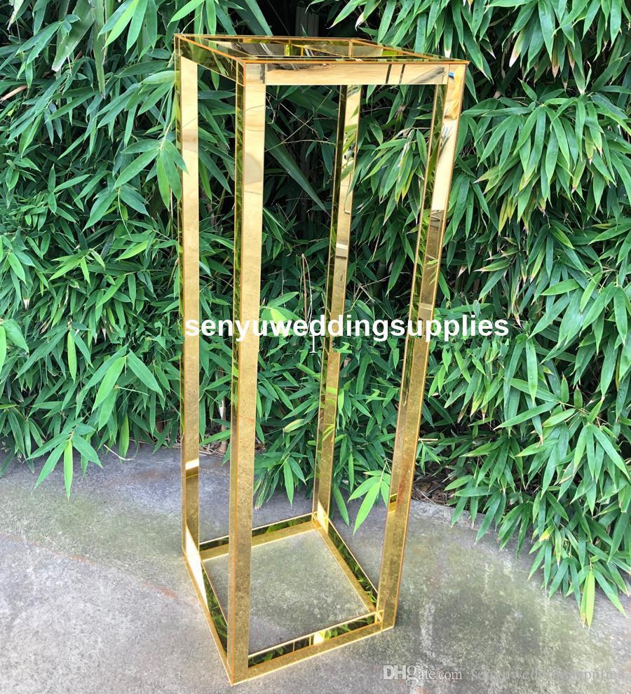 New style Wedding Metal Gold Flower Vase Column Stand for Wedding Centerpiece Decoration senyu0430
