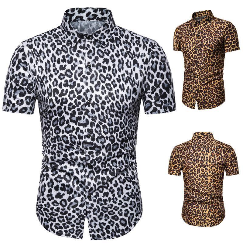 Мужские повседневные рубашки Евро 2021 дворы летом Мужчины мода личности леопардовый принт рубашка с коротким рукавом