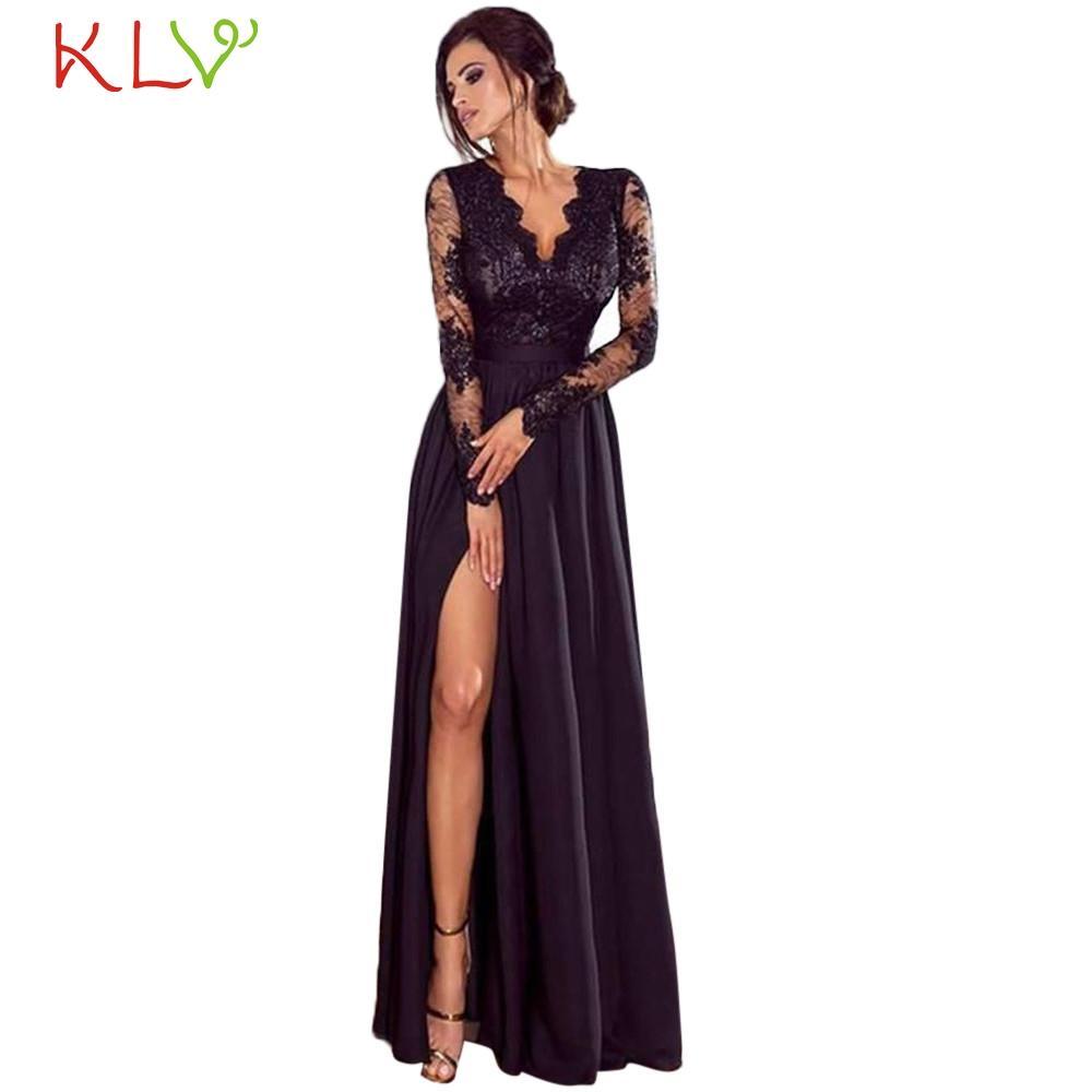 Großhandel Kleid Frauen Abendgesellschaft Elegante Große Größe Formale  Spitze Hochzeit Langes Schwarzes Kleid Für Nacht Sommer Robe Femme Hiver  10