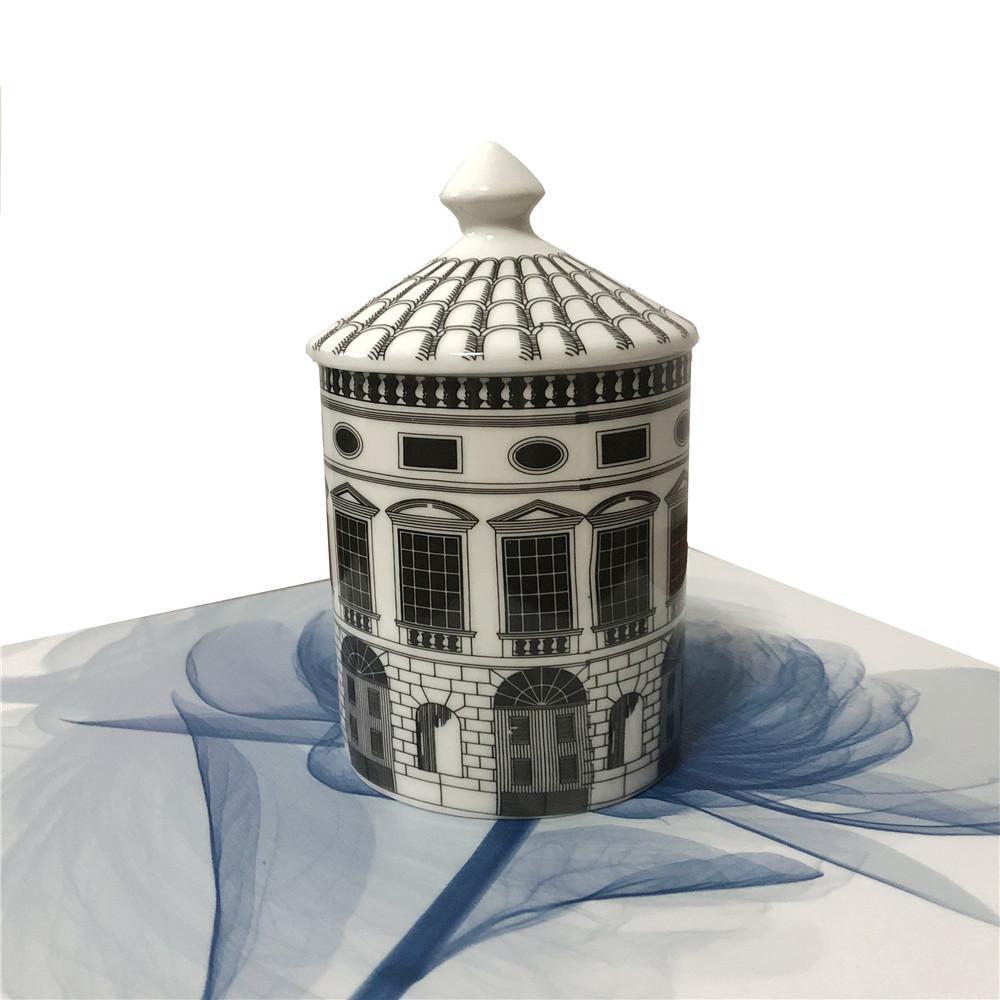 Retro Neuschwanstein Castle House decorativo sostenedor de vela de la placa creativa Blanco Negro geométrica Líneas Home Decor regalo