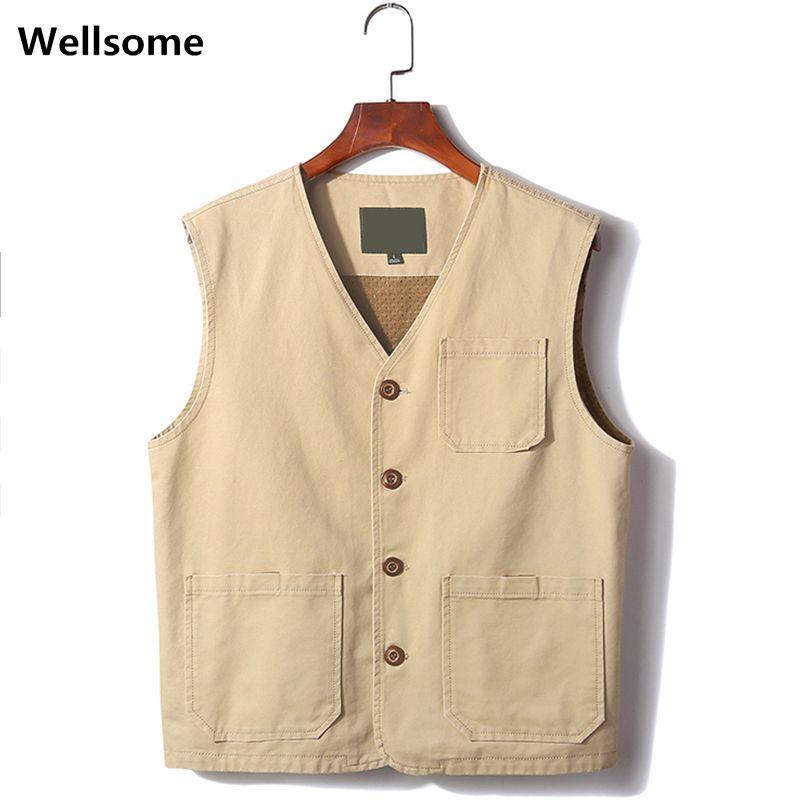 les hommes de pêche en plein air veste Gilet hommes Cargo Gilets tactiques Vêtements Veste multi Pockets outil vestes manches 4XL taille plus 7899